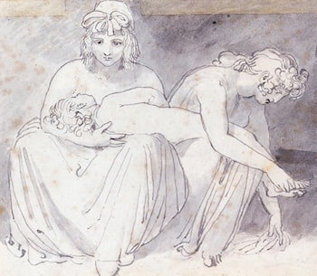 Two Women With A Young Child by John Flaxman