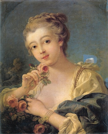 Young Woman with a Bouquet of Roses by Francois Boucher