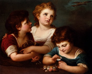 Children With A Bird's Nest And Flowers by Angelica Kauffmann