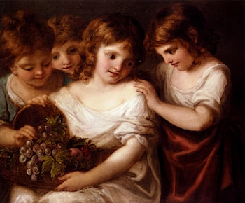 Four Children With A Basket Of Fruit by Angelica Kauffmann