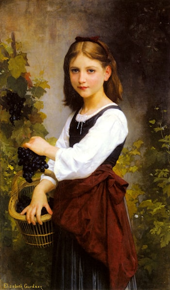 A Young Girl Holding a Basket of Grapes by Elizabeth Jane Gardner Bouguereau