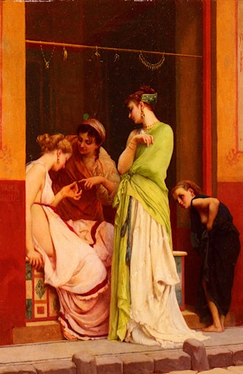 Une Marchande De Bijoux A Pompeii by Gustave Clarence Rodolphe Boulanger