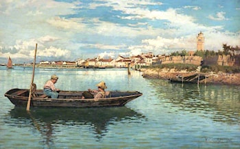 Fishing off Chioggia, Venice by William Henry Bartlett