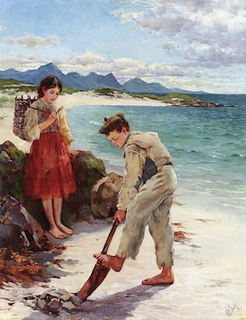 On the Beach, Connemara by William Henry Bartlett