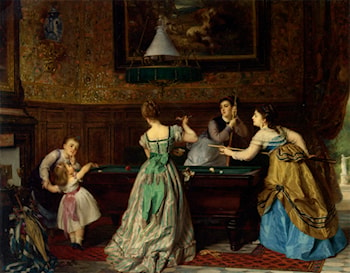 Ladies Playing Billiards by Charles Edouard Boutibonne
