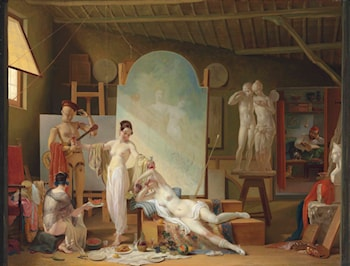 The Artist's Atelier in Rome by Philippe Jacques Van Bree