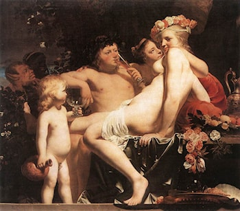 Bacchus with Two Nymphs and Cupid by Caesar van Everdingen