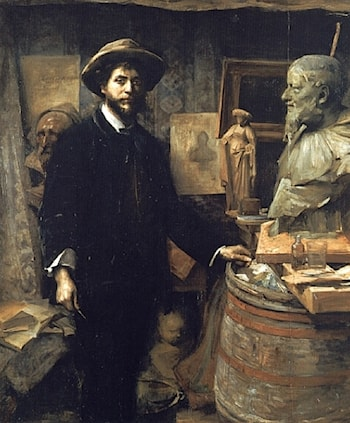 The Sculptor Jean Carries in his Atelier by Louise Breslau