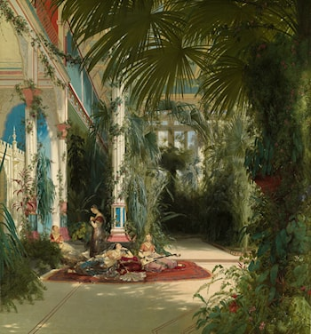 The Interior of the Palm House on the Pfaueninsel Near Potsdam by Karl Blechen