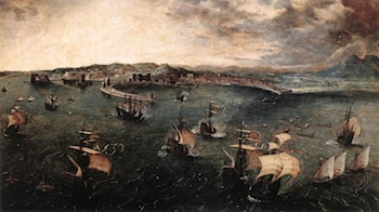 Naval Battle in the Gulf of Naples by Pieter the Elder Bruegel