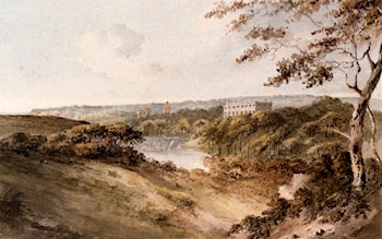 A Distant View Of Clovelly Court, Devon by John Warwick Smith