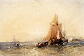 Fishing Boats Off The Coast At Sunset by William Callow