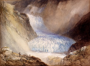 Glacier Du Rhone And The Garlingstock, Pass Of The Furca, Switzerland by William Callow