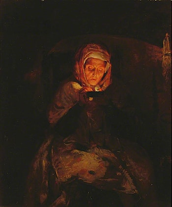 Old Woman Lighting Tinder by Briton Riviere