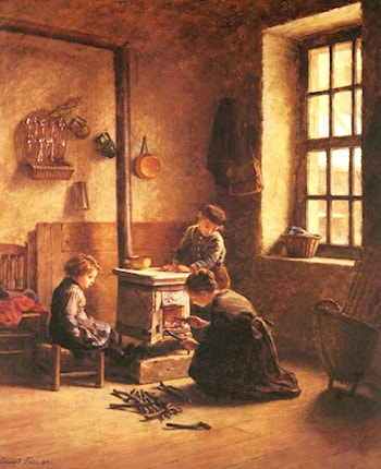 Lighting the Stove by Edouard Frere