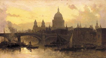 St. Pauls from the Thames, Looking West by David Roberts