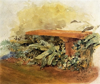 Garden Bench with Ferns by Theodore Robinson