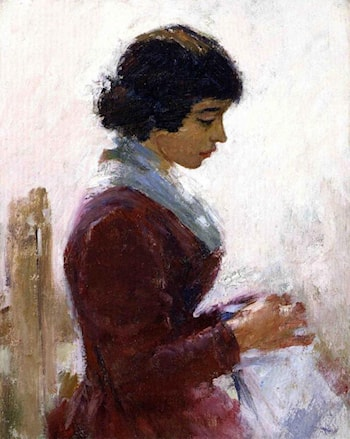 Girl in Red, Sewing by Theodore Robinson