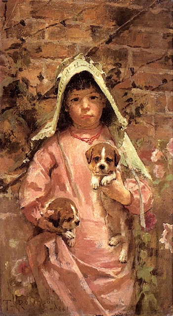Girl with Puppies by Theodore Robinson
