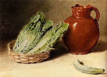 Still Life With A Jug, A Cabbage In A Basket And A Gherkin by William Henry Hunt