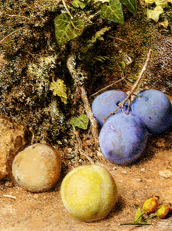 Still Life With Greengages And Plums On A Mossy Bank by William Henry Hunt