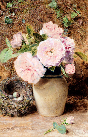 Still Life With Roses In A Vase And A Birds Nest by William Henry Hunt