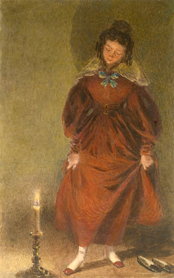 New Red Shoes, the artist's wife by William Henry Hunt