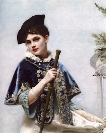 A Portrait of a Noble Lady by Gustave Jean Jacquet