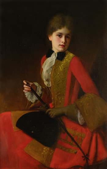 Girl in a Red Riding Habit by Gustave Jean Jacquet