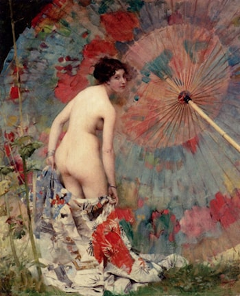 Nude With A Japanese Umbrella by Aime-Nicolas Morot