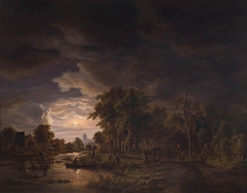 Moonlit Village by a River by Jacobus Theodorus Abels