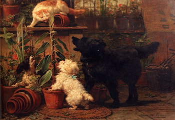 In The Greenhouse by Henriette Ronner-Knip