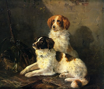 Two Spaniels Waiting for the Hunt by Henriette Ronner-Knip