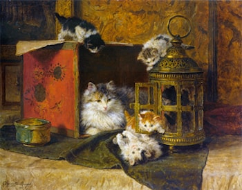 A Mother Cat Watching Her Kittens Playing by Henriette Ronner-Knip
