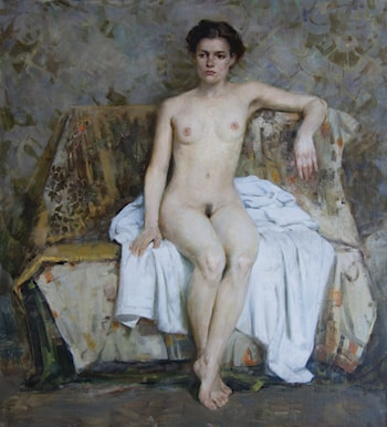 Nude Sitting on a Couch by Gilberto Geraldo