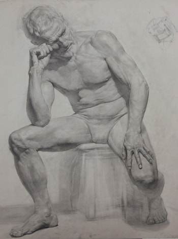 Male Figure Sitting by Gilberto Geraldo