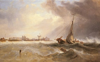 Shipping off a Coast in Choppy Seas by James Wilson Carmichael