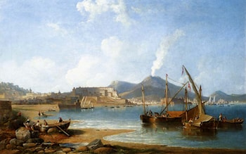 The Bay Of Naples With Vesuvius Beyond by James Wilson Carmichael