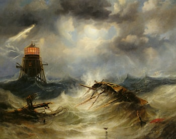 The Irwin Lighthouse Storm Raging by James Wilson Carmichael