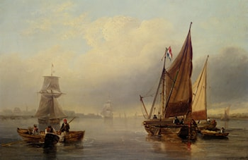 French fishing vessels heading out to sea by James Wilson Carmichael