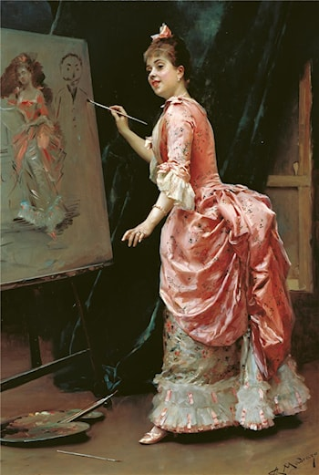 Mischievous Model by Raimundo de Madrazo y Garreta