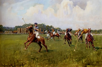 Playing Polo At Cowdray Park, West Sussex by Lionel Edwards