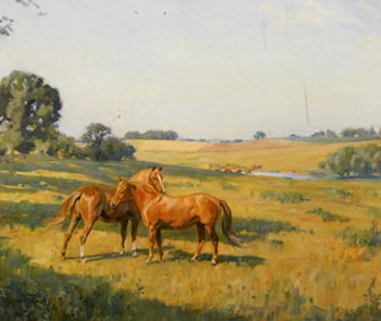 Mare and Foal in a Meadow by Lionel Edwards