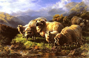 Morning: sheep grazing in a Highland Landscape by William Watson