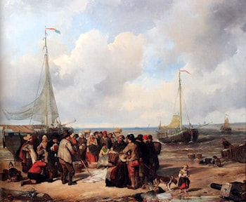 De afschlag van visch aan het strand te Scheveningen: a fish auction on the beach by Herman Frederik Carel ten Kate