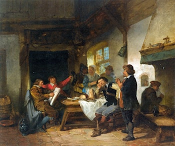 A Merry Company in an Interior by Herman Frederik Carel ten Kate