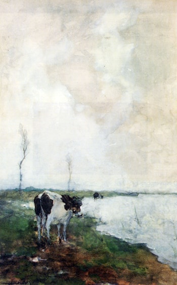 A Cow Standing By The Waterside In A Polder by Jan Hendrik Weissenbruch