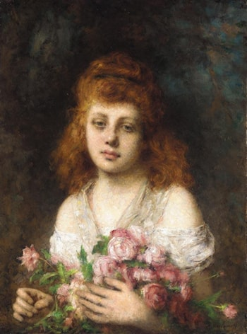 Auburn­haired Beauty with Bouqet of Roses by Alexei Alexeivich Harlamoff