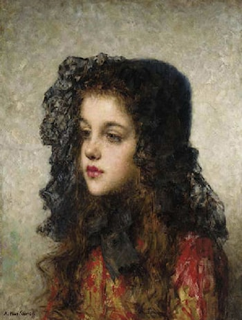 Little Girl with Head­dress by Alexei Alexeivich Harlamoff