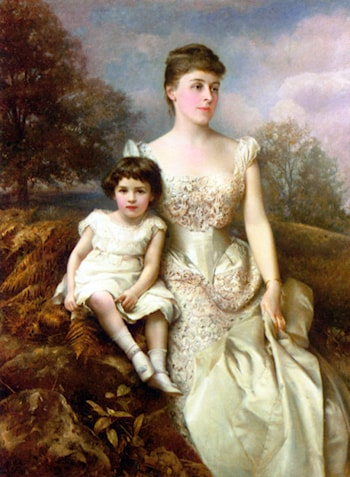 Portrait of Mrs. Drury Percy Wormald and her Son by Edward Hughes